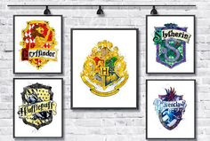 Harry Potter Watercolor Art Print Hogwarts Gryffindor Slytherin Ravenclaw Hufflepuff Crest Painting Nursery Decor Wall Hanging Kids Room by gingerkidsart on Etsy https://www.etsy.com/listing/266977923/harry-potter-watercolor-art-print