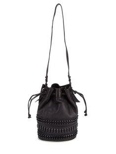 """La Victoire, """"Drawstring Studded Shoulder Bag"""""""