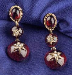 -18kt Gold, Garnet, and Diamond Ear pendants