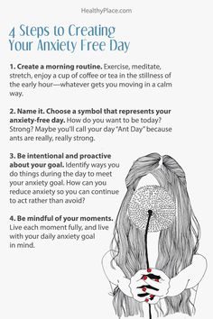 """Click to read the complete article. """"Anxiety free days, or at least anxiety reduced days, are entirely possible. Learn four steps to create the anxiety free day you want to have at HealthyPlace."""" www.HealthyPlace.com"""