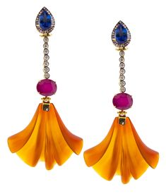 Silvia Furmanovich 18ct gold, tanzanite, pink tourmaline, diamonds and orange calcedony fan earrings