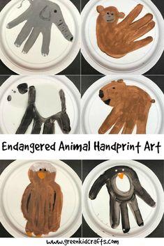 Endangered Animal Handprint Crafts - Green Kid Crafts