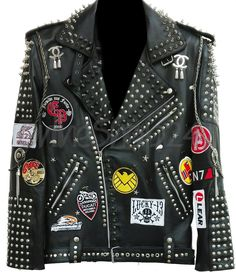Men Black Full Silver Studded Patches With Chains Cowhide Leather Jacket with patches decorated – Leather Style Studded Leather Jacket, Biker Leather, Cowhide Leather, Leather Men, Black Leather, Leather Jackets, Real Leather, Steam Punk, Metal Spikes