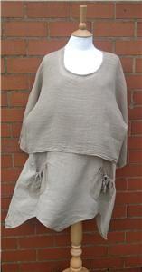 lagenlook clothing | Lagenlook Diverse Range 100% Italian Linen 2 PIECE Tunic & Overshirt ...
