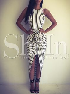 Black+White+Vertical+Striped+Knotted+Asymmetric+Dress+10.33