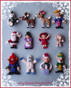 Santa polymer clay ornamentS
