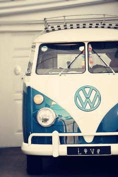 blue and cream white volkswagen combi.who wouldn't want a dream holiday in a kombi like this one! Volkswagen Transporter, Volkswagen Bus, Vw Camper, Vw Caravan, Vw T1, Campers, Luxury Sports Cars, Sport Cars, My Dream Car