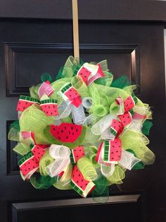 A personal favorite from my Etsy shop https://www.etsy.com/listing/532121529/deco-mesh-watermelon-wreath