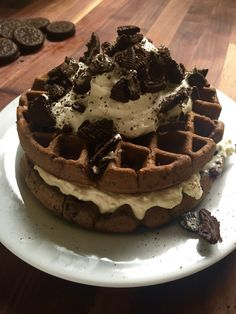 Oreo Cheesecake Waffles from Delish - 31 Father's Day Brunch Recipes recipes desserts deserts Think Food, I Love Food, Good Food, Cute Desserts, Dessert Recipes, Brunch Recipes, Waffle Desserts, Waffle Cake, Breakfast Recipes