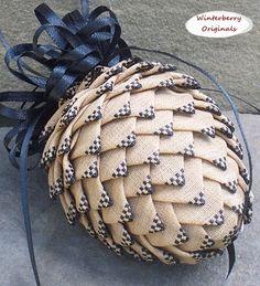 Pierced Ribbon Pinecone Ornament - Tan w/Black Check Tips