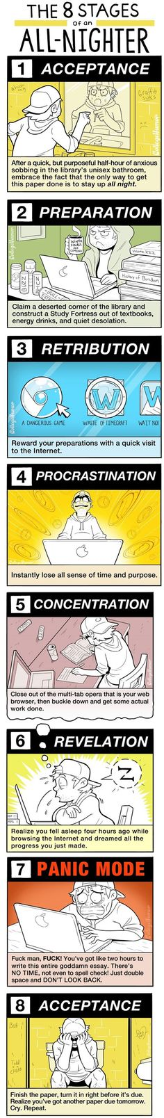 The 8 stages of an all-nighter! Hilarious but true!