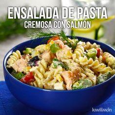 Ensalada de Pasta Cremosa con Salmón - Vein Tutorial and Ideas Casserole Recipes, Pasta Recipes, Cooking Recipes, Healthy Recipes, Cooking Cake, Kale Recipes, Healthy Meals, Chicken Recipes, Tasty Videos