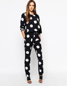 Image 1 of Just Female Pants in Large Polka Dot Print co-ord