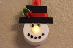 Snowman Tealight Ornament by fellwalt on Etsy https://www.etsy.com/listing/251511517/snowman-tealight-ornament