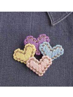 Plastic Canvas - Accessories - Decorations & Knickknacks - Four Hearts Pin - #FP00025