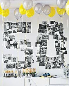 Arrange old photographs in the shape of the big 5-0.  See more 50th birthday party themes and party ideas at www.one-stop-party-ideas.com