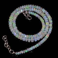 """53CRTS 4to6MM 18"""" ETHIOPIAN OPAL FACETED RONDELLE BEADS NECKLACE OBI2133 #OPALBEADSINDIA"""