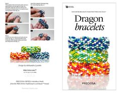 Project Dragon bracelets - Tutorial on Crocheted bracelets made from PRECIOSA Solo™, Traditional Czech Beads Dragon Bracelet, Crochet Needles, Bracelet Tutorial, Jewelry Patterns, Bracelet Making, Sprinkles, Beads, Bracelets, Beadwork