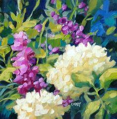 "Daily Paintworks - ""Place in the Sun"" - Original Fine Art for Sale - © Libby Anderson Fine Art Auctions, Plantar, Meet The Artist, Fine Art Gallery, Art For Sale, Hydrangeas, Delphiniums, Flower Art, Watercolor Art"