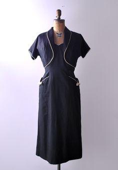 1940's Weekender Sundress / Black Cotton Dress with Jacket