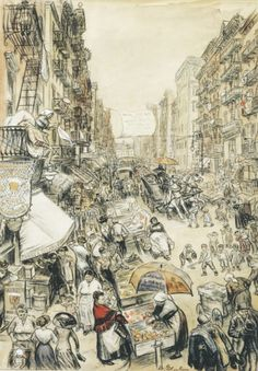 """William Glackens, """"Far from the Fresh Farm Air"""", 1911 """"… The drawing Far From the Fresh Air Farm: the Crowded City Street, with Its Dangers and Temptations, Is a Pitiful Makeshift Playground for. Alphonse Mucha, Pablo Picasso, William Glackens, Ashcan School, Most Famous Artists, Williams James, Urban Life, American Artists, American Realism"""