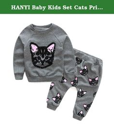 HANYI Baby Kids Set Cats Print Tracksuit +Pants Outfits Set (2T, gray). 1. HANYI Baby Kids Set Clothes Long Sleeve Cats Print Tracksuit +Pants Outfits Set 2. There is 2-3% difference according to manual measurement. Please check the measurement chart carefully before you buy the item. HANYI Baby Kids Set Clothes Long Sleeve Cats Print Tracksuit +Pants Outfits Set For 2-6 Years Old Toddler BABY Please note that slight color difference should be acceptable due to the light and screen…