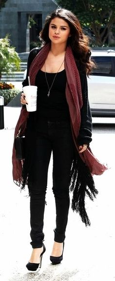 All black fall/ winter outfit ( loose fitting inside shirt, and jeans with black boots. Keep the cardigan and scarf. I like the colors)
