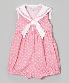 Look what I found on #zulily! Pink & White Star Sailor Bubble Romper - Infant #zulilyfinds