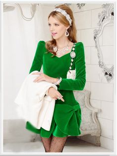 Morpheus Boutique  - Green Velour Bow Long Sleeve Pleated Dress