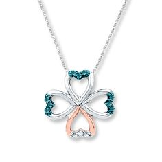 Clover Necklace 1/20 ct tw Diamonds Sterling Silver/10K Gold