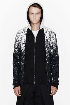 GARETH PUGH - Black forest print layered hoodie