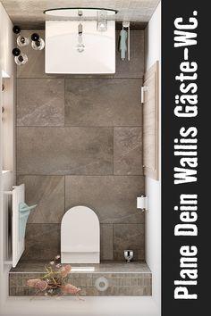Auch im WC will man sich wohlfühlen. Mit dem Wallis Gäste-WC ist das ganz einfach. Hier kannst Du Dein Wallis-WC planen. Wallis, Planer, Bathroom, Rooms, Blog, Porcelain Tiles, Guest Toilet, Remodels, Simple