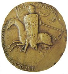 Seal of Raymond VI of Toulouse. Note crescent moon and eight-pointed star.