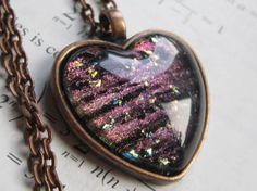 Bohr  Heart Necklace  Science Jewelry  Galaxy by DarkMatterJewelry, $23.00