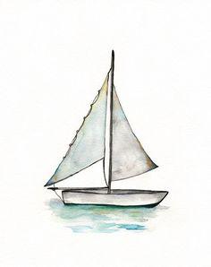 Sailboat Personalized /watercolor print / teal/ light green /aqua /sea /ocean / Baby Boys Room /Archival Print