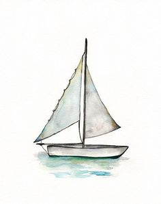 Sailboat Personalized /watercolor Print / Teal/ Light Green /aqua /sea /ocean…