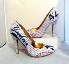 New York Yankees Heels  Made to Order by custombykylee on Etsy