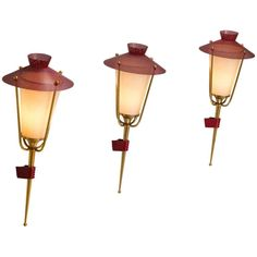 Maison Arlus Set of Three Red Mesh and Brass Wall Lights 1