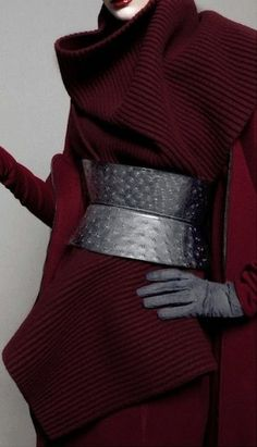 Haute Couture - garnet wool and black leather by Haider Ackermann Shades Of Burgundy, Burgundy Wine, Burgundy Color, Magenta, Fashion Details, Fashion Design, Fashion Trends, Color Borgoña, Burgundy Fashion