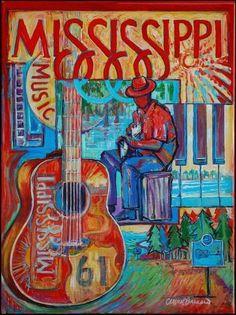 Poster for Mississippi--by Cristen Craven Barnard Blue Poster, Retro Poster, Mississippi Delta, Mississippi University, Mississippi Queen, Meridian Mississippi, Delta Blues, Southern Belle, Southern Gothic