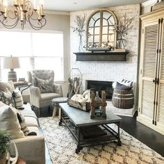 54 incredible farmhouse living room sofa design ideas and decor 30 Living Room Sofa Design, Home Living Room, Living Room Decor, French Country Living Room, French Country Decorating, Fixer Upper Living Room, Country Style Homes, Sweet Home, Home Decor