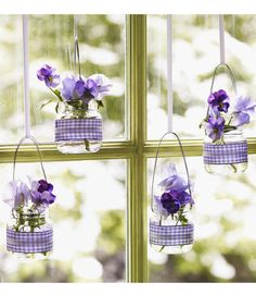 Crafts: Hanging Baby-Food Jar Vases: Baby-food jars are the perfect size to display small flowers, like pansies, and this tutorial shows how easy it is to convert the jars into minivases.  Wondering what to do with all those leftover baby-food jars? We've got 20 great ideas!  Source: Good Housekeeping