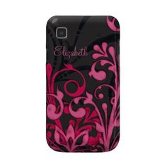 This is a Samsung Galaxy case that I designed. You can personalize it with your own name or change the text to something else. You can also remove the text completely. This design is a vibrant pink and black floral. The case is a hard plastic fitted Case-Mate case available for sale on zazzle.com.