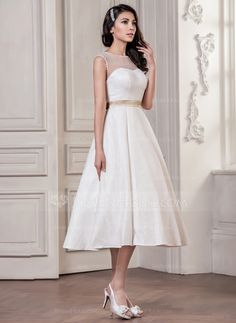 Forme Princesse Col rond Longueur mollet Tulle Charmeuse Dentelle Robe de mariée avec Ceintures À ruban(s) (002059182)