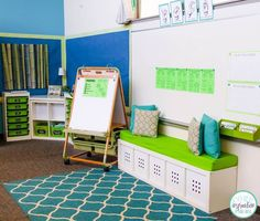 This mini lesson zone is inviting enough to feel cozy but has enough space for everyone to sit and focus. Love it!