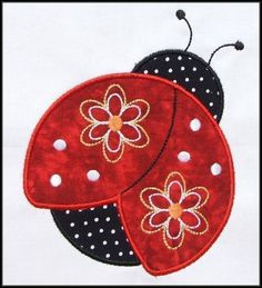Pretty Ladybug  Applique and Fill designs 4x4 and 5x7 hoop Machine Embroidery. $4.99, via Etsy.