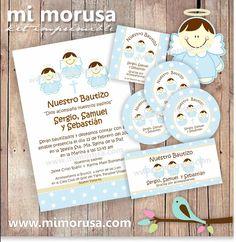 Triplets Baptism Invitation + digital labels & more / Invitación Bautizo de Trillizos + detalles digitales.