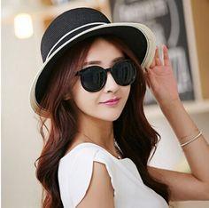 Fashion black panama hats for women straw sun hats summer wear