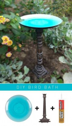 ) Up-cycle plate and candle stick from Good Will store… DIY bird bath (super easy!) Up-cycle plate and candle stick from Good Will store. Diy Bird Bath, Bird Bath Garden, Bird Bathroom, Garden Pond, Garden Crafts, Garden Projects, Diy Crafts, Easy Projects, Outdoor Projects