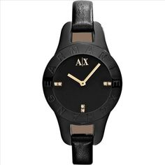 AX Armani Exchange Round Leather Strap Watch, (Online Only) Armani Watches For Women, Other Accessories, Handbag Accessories, Gold Bands, Fashion Watches, Michael Kors Watch, Jewelry Watches, Black Leather, Virtual Closet